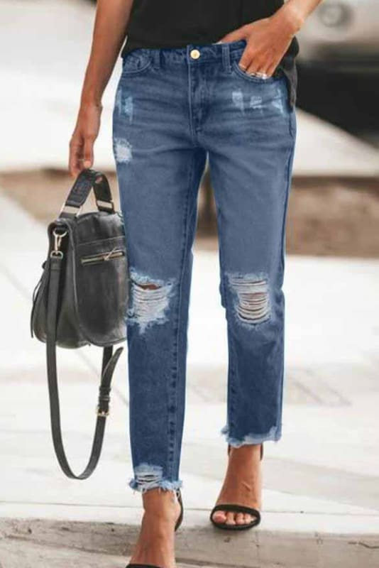 Distressed Slim-Fit Jeans | Women's Jeans