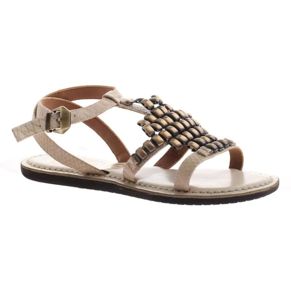 Dorrie in Ivory Flat Sandals | Women's Shoes by NICOLE | WOMEN FOOTWEAR