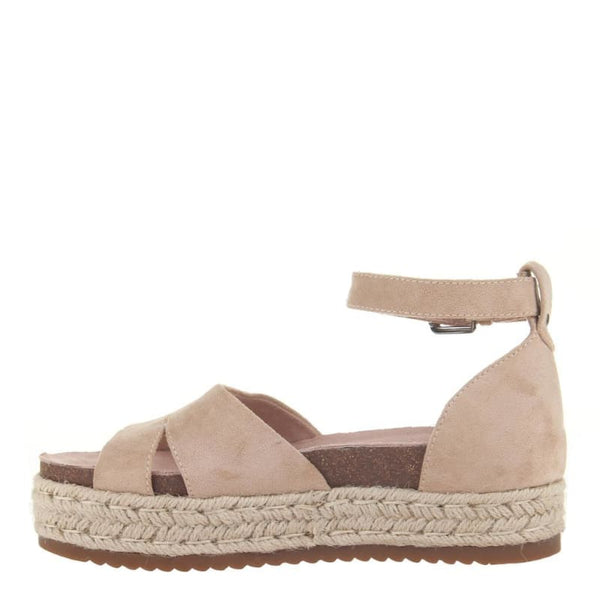Drama Queen in Champagne Wedge Sandals | Women's Shoes by MADELINE GIRL | WOMEN FOOTWEAR