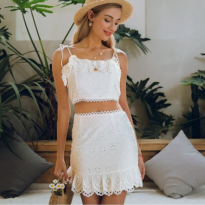 Eyelet Dot Print Sun Dress Fashion Boutique 2 Pc Mini Sundress | women's dress
