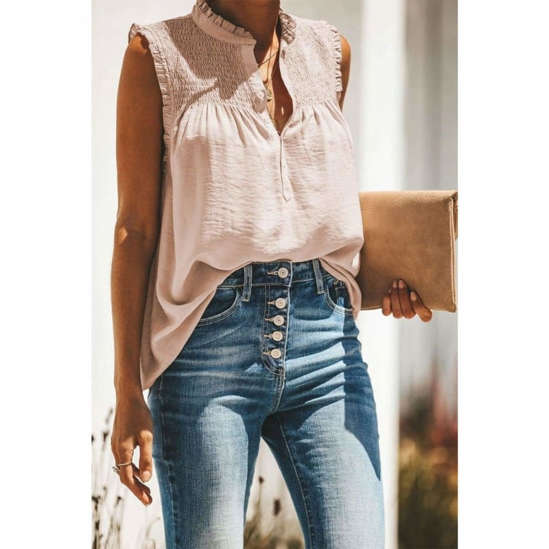 Fashion Boutique Beige Smocked Blouse Cute Tops to Wear With Skinny Jeans | Tank Tops
