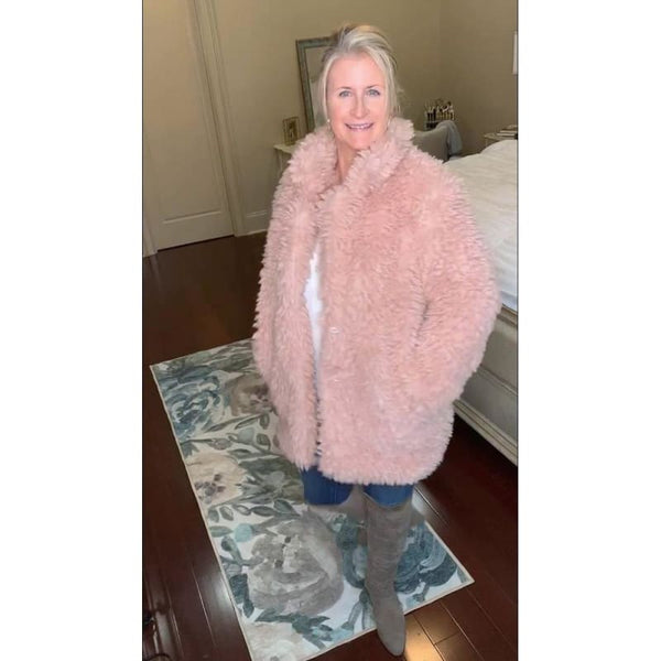 Fashion Boutique Blush Pink Faux Fur | Faux Lambswool Coat | blush pink faux lambswool women coat