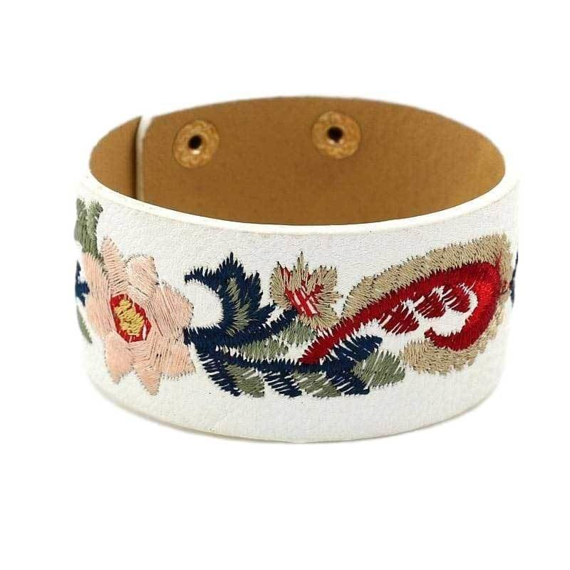 Fashion Boutique Boho Floral Embroidered Faux Leather Cuff Bracelet | Cuff Bracelets