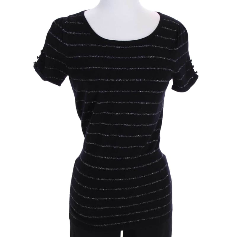 Fashion Boutique Express Black Metallic Striped Short Sleeve Fine Gauge Sweater Winter/Spring Summer/Fall Transitional Top - S | women's