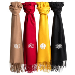 Fashion Boutique Gift Idea Faux Cashmere Pashmina Monogram Scarf Wrap Cover-up | Monogrammed Personalized Products
