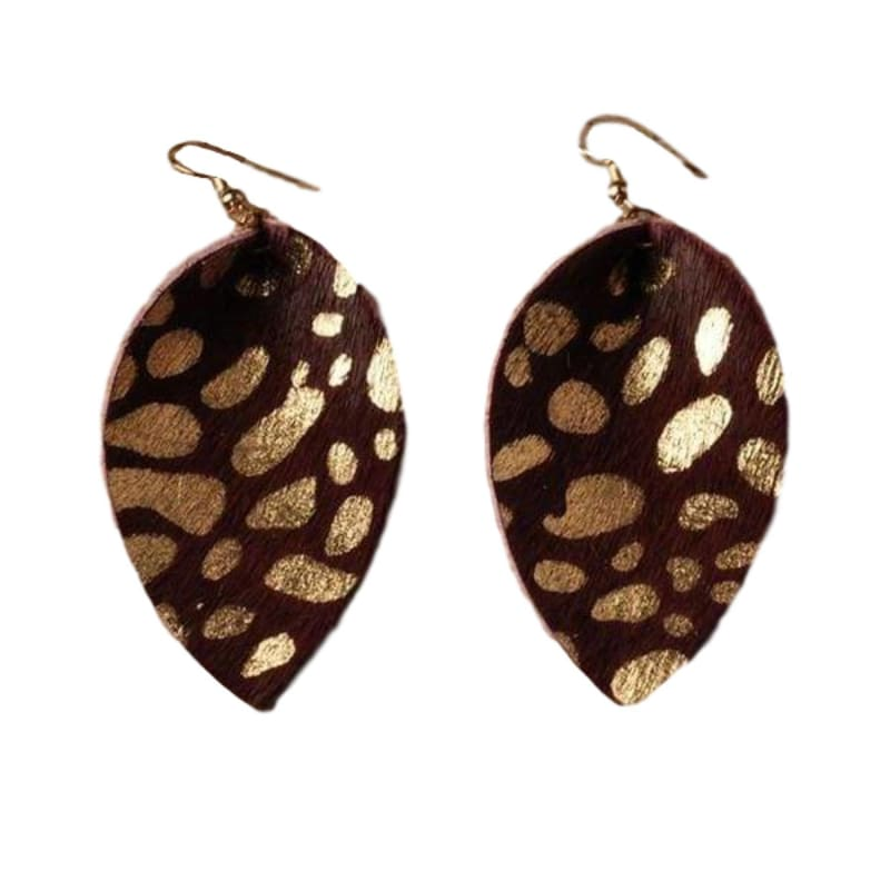 Fashion Boutique Gilded Light Statement Boho Casual Leather Earrings | dangle leather earrings