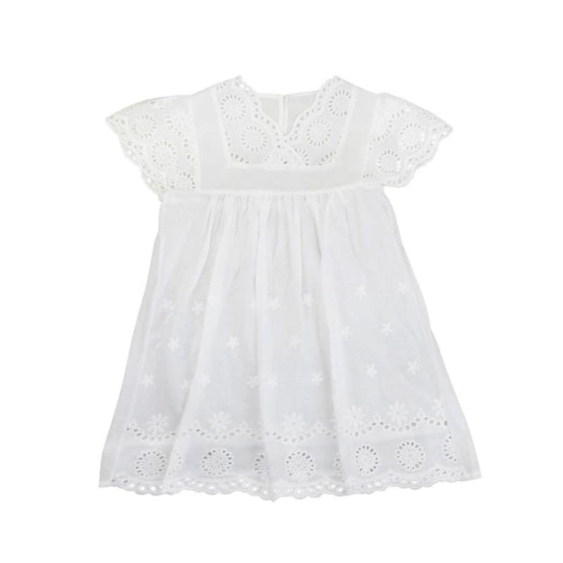 Fashion Boutique Girls Summer White Eyelet Embroidery Baby Dress | White Toddler Dress