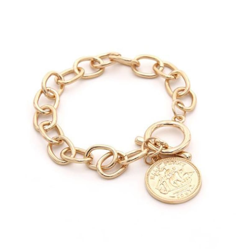 Fashion Boutique Gold Toggle Coin Pendant Charm Chain Link Statement Bracelet | Chain & Link Bracelets