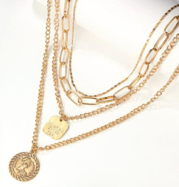 Fashion Boutique Jewelry Gold Multi Layered Coin Necklace | women's necklace
