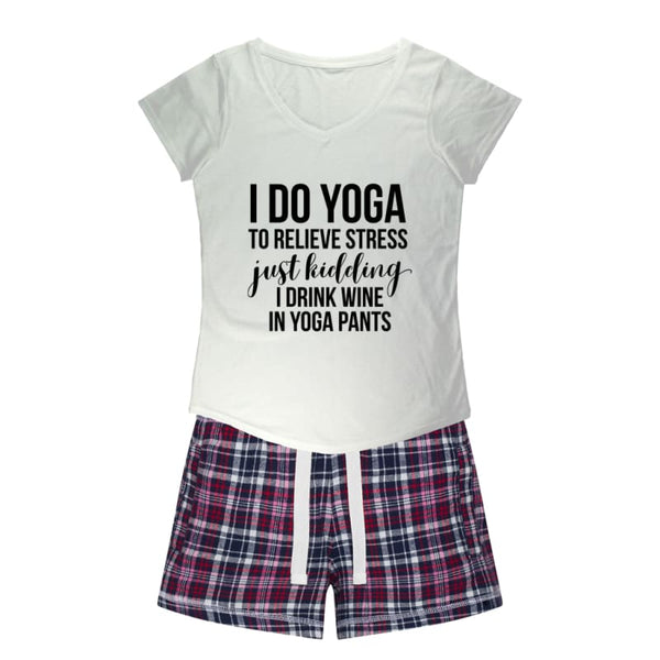 Fashion Boutique Pajamas | I Do Yoga/Drink Wine Sleep Tee + Flannel Shorts Set | Pajamas