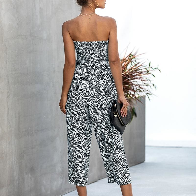 Fashion Boutique Smocked Strapless Tube Top Floral Wide Leg Jumpsuit Romper | Summer Beach Resort Wear Vacation Outfit | Women's Jumpsuit