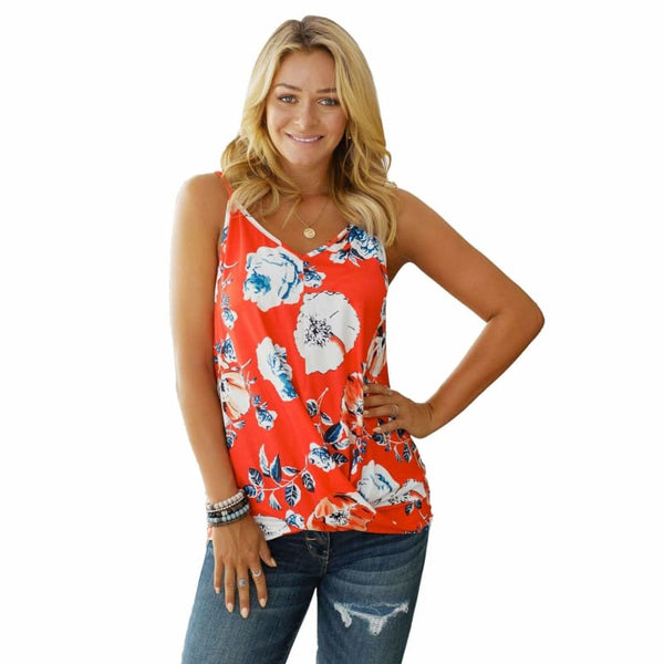 Floral Strappy Shoulder Tank Top with Twist Draped Front Detail | Tank Tops