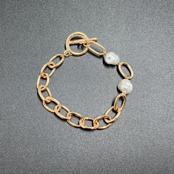 Gold Toggle Chain Link Statement Bracelet Metal Color - Z6 | Chain & Link Bracelets