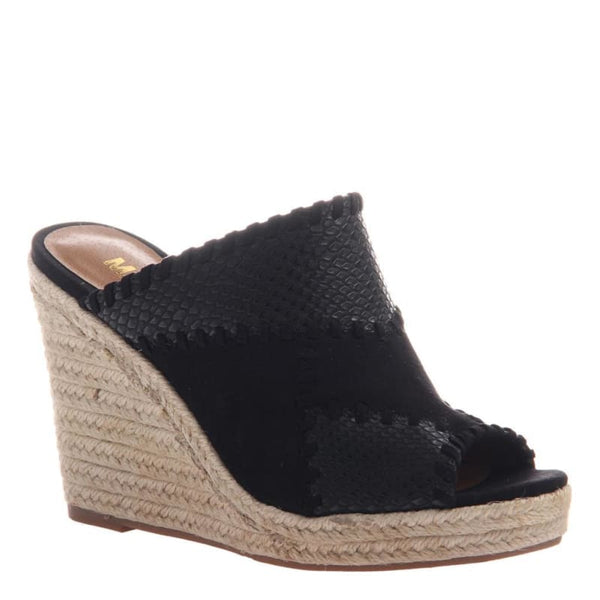 Mix in Black Wedge Sandals | Women's Shoes by MADELINE GIRL | WOMEN FOOTWEAR
