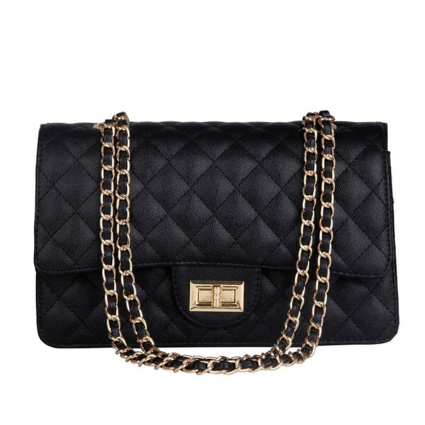 Quilted Faux Leather Chain Strap Handbag with Turnlock Closure | shoulder bag