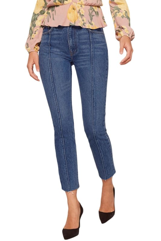 Retro Blue Flattering Seam Accent Jeans with Raw Hem | Women's Jeans