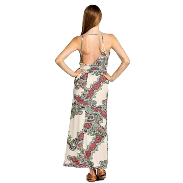 Style Boutique Scarf Print Backless Maxi Dress Casual Summer Outfit