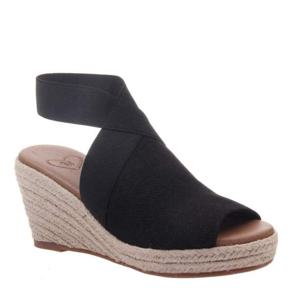 Sunny Day in Black Wedge Sandals | Women's Shoes by MADELINE | WOMEN FOOTWEAR