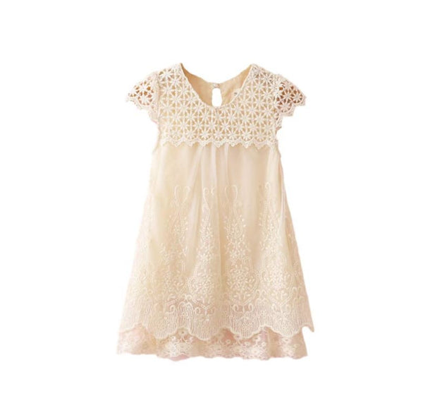 Toddler Baby Ivory Cream Crochet Lace Party Dress Holiday Photo Shoot | ivory lace toddler dress