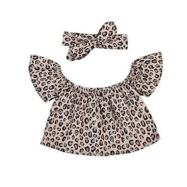 Toddler Clothes Gift Leopard Print Off-the-Shoulder Top Headband Set | toddler 2 piece set