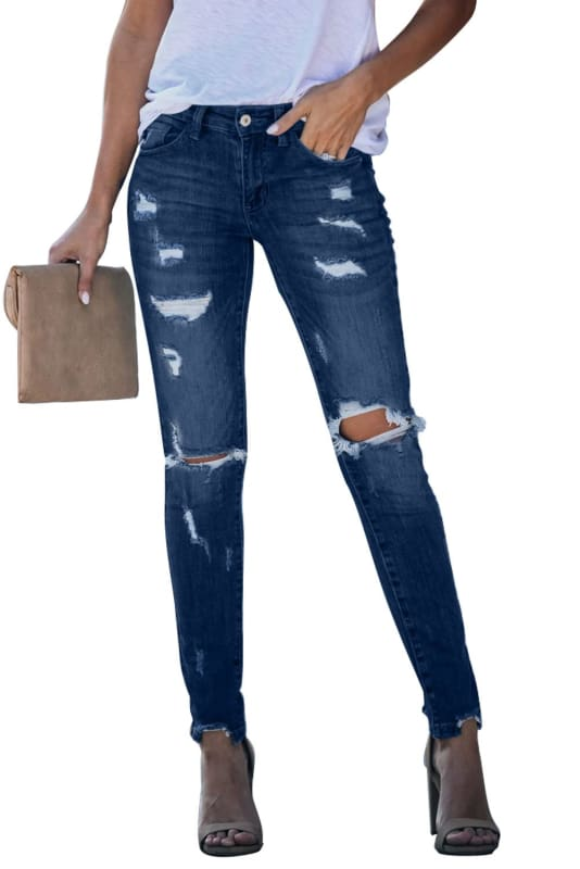 Trendy Boutique Fashion Distressed Frayed Skinny Jeans | Women's Jeans