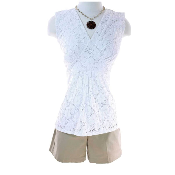 White Eyelet Lace Top - S | women's top