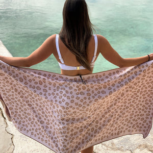 Leopard - Beige spotted beach towel that features sand free recycled microfiber technology