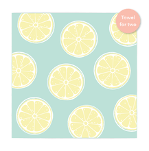 Load image into Gallery viewer, Double Lemons Beach Towel features sand free recycled microfiber technology
