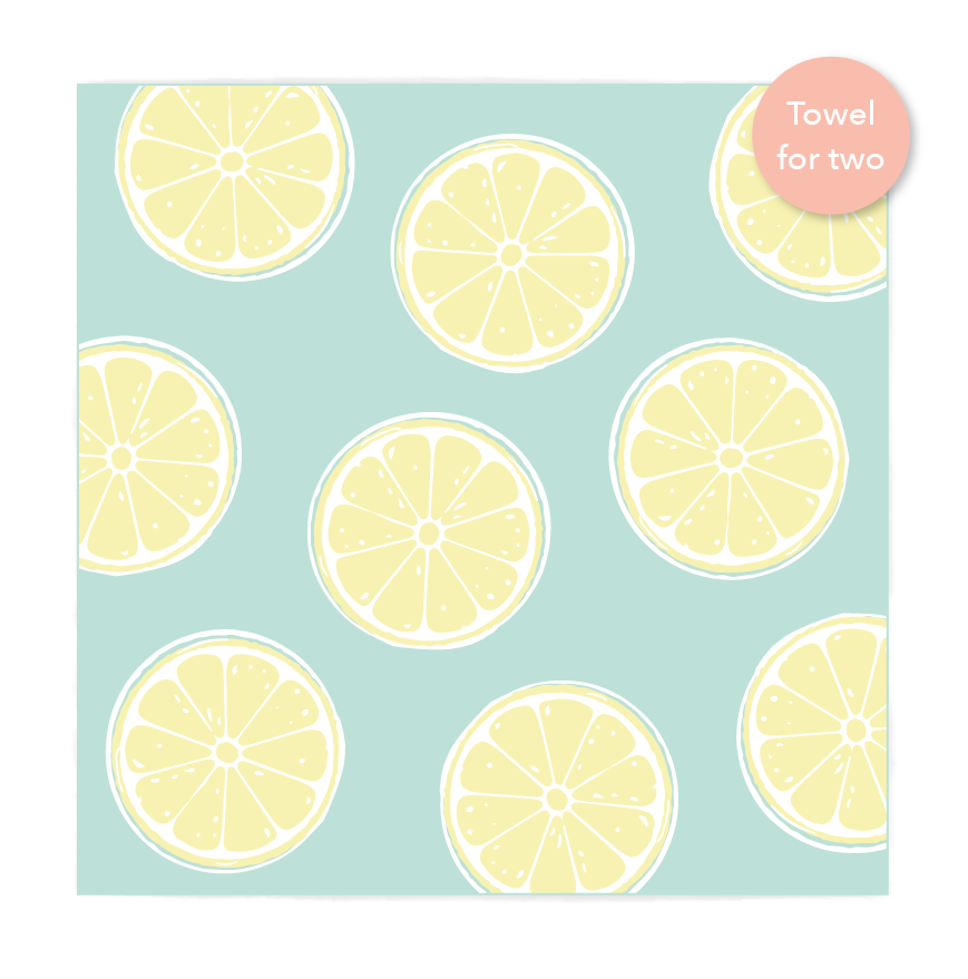 Double Lemons Beach Towel features sand free recycled microfiber technology