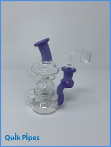 "5"" Crystal Glass Mini Recycler Dab Rig."