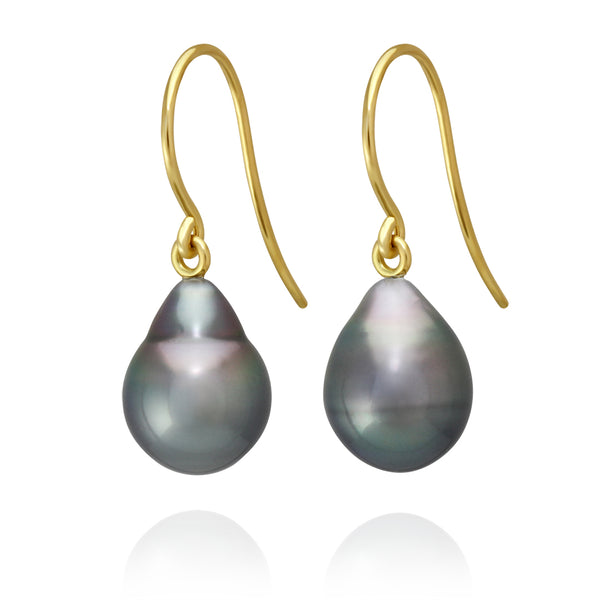 Classic French Hook Earrings - Yellow Gold - ERFHYGCL100001 - NANIHI  TAHITIAN  PEARLS