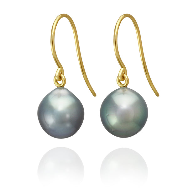 Classic French Hook Earrings - Yellow Gold - ERFHYGSB100001 - NANIHI  TAHITIAN  PEARLS
