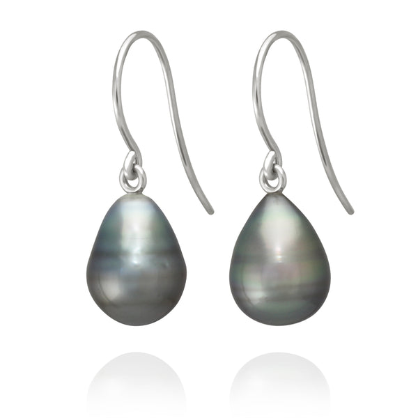 Classic French Hook Earrings - White Gold - ERFHWG950001 - NANIHI  TAHITIAN  PEARLS