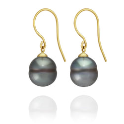 Classic French Hook Earrings - Yellow Gold - ERFHYGCL90001 - NANIHI  TAHITIAN  PEARLS