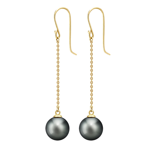 Tahitian Pearl Earrings - Yellow Gold - 001 - NANIHI  TAHITIAN  PEARLS