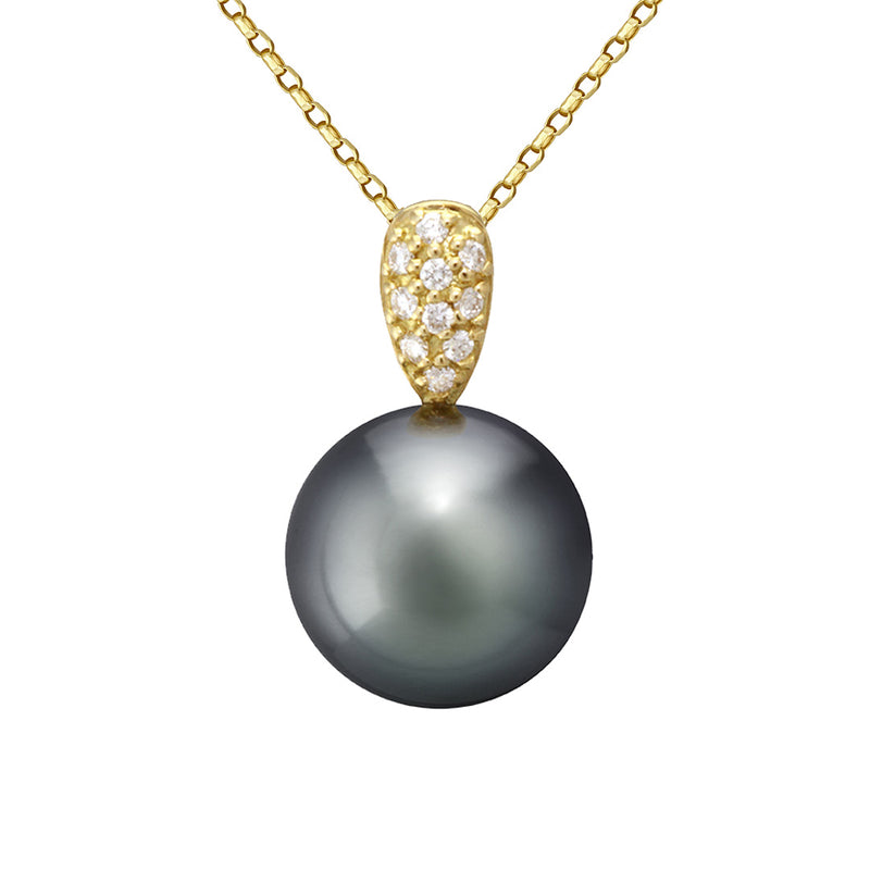 Diamonds and Black Tahitian Pearl Pair Pave Pendant - - NANIHI  TAHITIAN  PEARLS