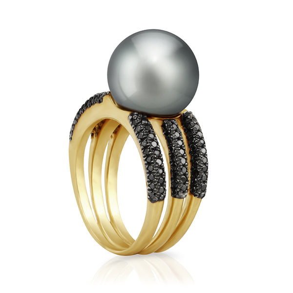 Deco Noir Ring - Yellow Gold - RIDEBLYG001 - NANIHI  TAHITIAN  PEARLS