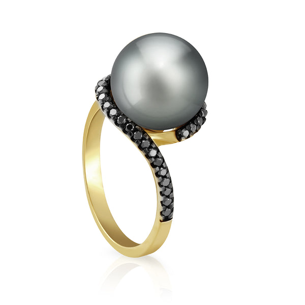 Swirl Tahitian Pearl Gold Ring - Yellow Gold - 001 - NANIHI  TAHITIAN  PEARLS