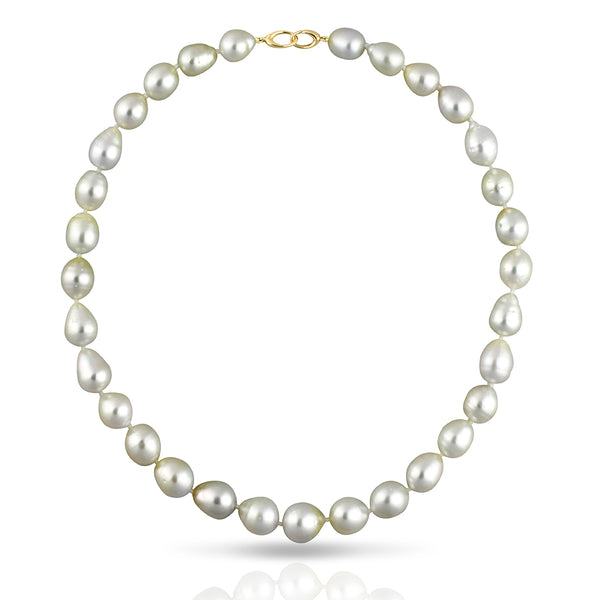 South Sea Pearl Strand Collier Necklace - SEMI BAROQUE 43cm - STNESSYGSB003 - NANIHI  TAHITIAN  PEARLS