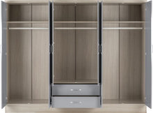 Load image into Gallery viewer, Nevada Grey Gloss 6 Door Mirrored Wardrobe