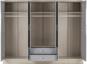 Nevada Grey Gloss 6 Door Mirrored Wardrobe