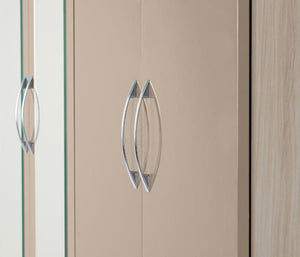 Nevada Oyster Gloss 6 Door Mirrored Wardrobe