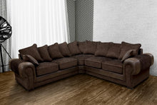 Load image into Gallery viewer, Taylor Chocolate Fabric Corner Sofa