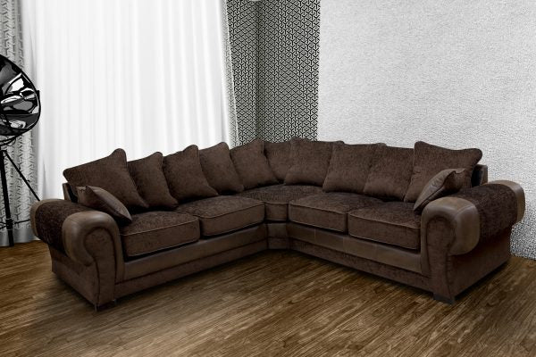 Taylor Chocolate Fabric Corner Sofa