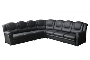 Titan Faux Leather Black Large Corner Sofa