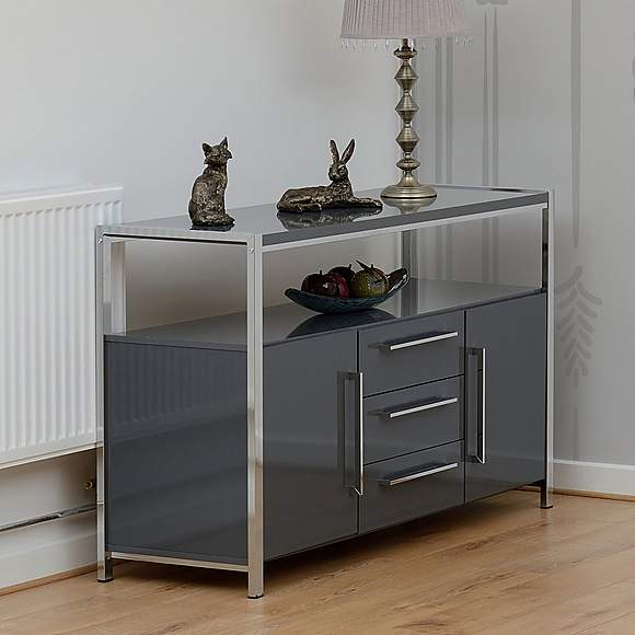Grey Gloss and Chrome Sideboard