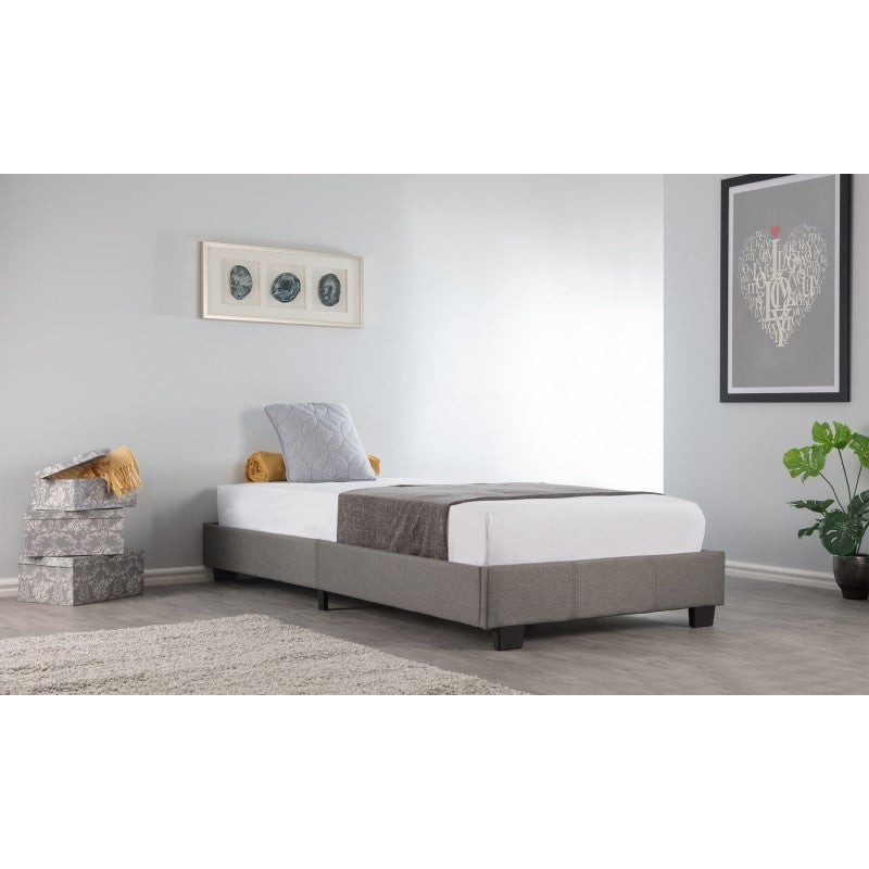 grey fabric bed frame