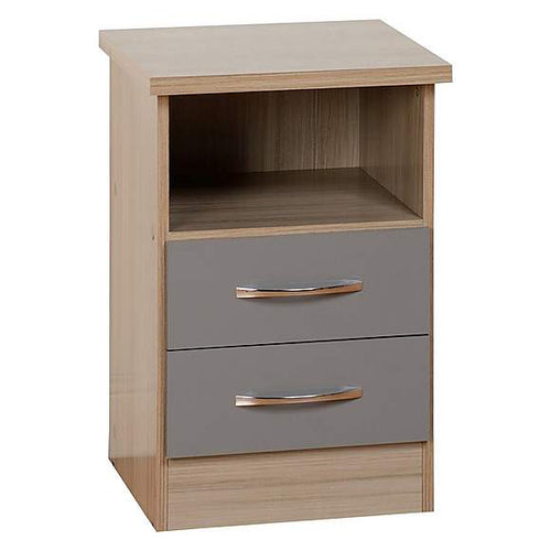 Nevada Grey 2 Drawer Gloss Bedside