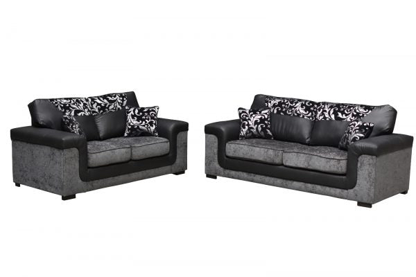 Sienna Grey and Black 3+2 Sofa Set