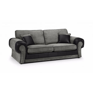 Taylor 3 Seater Grey and Black Fabric Sofa